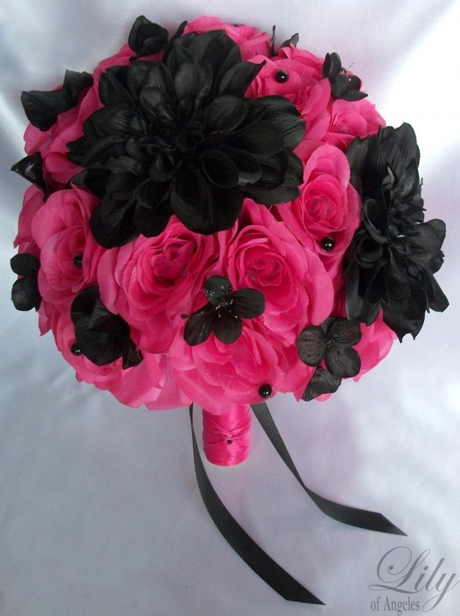 زفاف - Wedding Bouquet, Bridal Bouquet, Bridesmaid Bouquet, Silk Flower Bouquet, Wedding Flowers, 17 Piece Package, Fuchsia, Black, Lily of Angeles