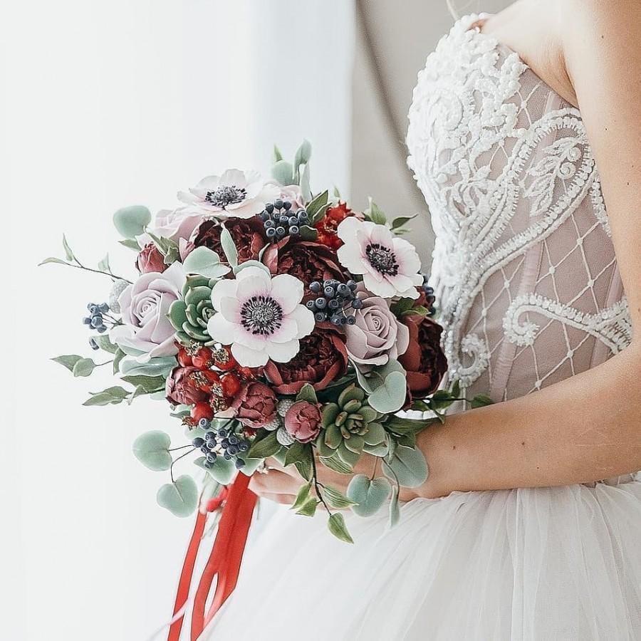 زفاف - Handmade Fall wedding bouquet clay flowers succulent dahlia autumn wedding bridal bouquet marsala, burgundy, anemone alternative bouquet