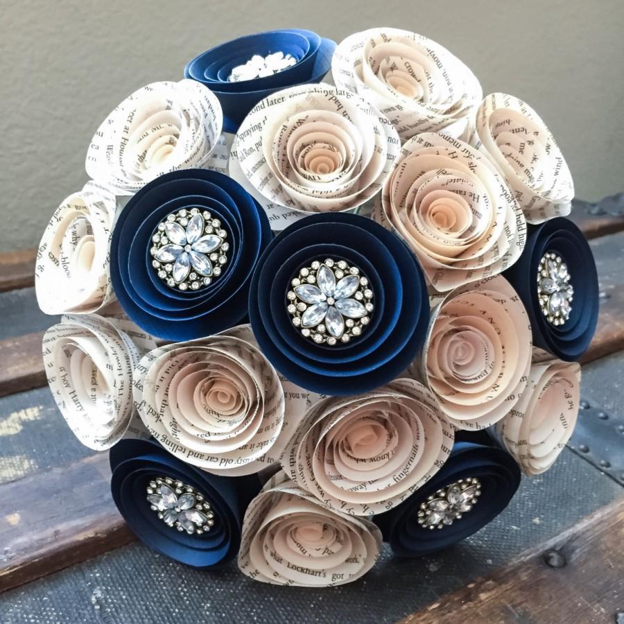 زفاف - Wedding Flowers - Paper Flower Bouquet - Wedding Bouquet Alternative - Wedding Bouquet - Paper Flowers - Book Page - Navy Blue - Rhinestones
