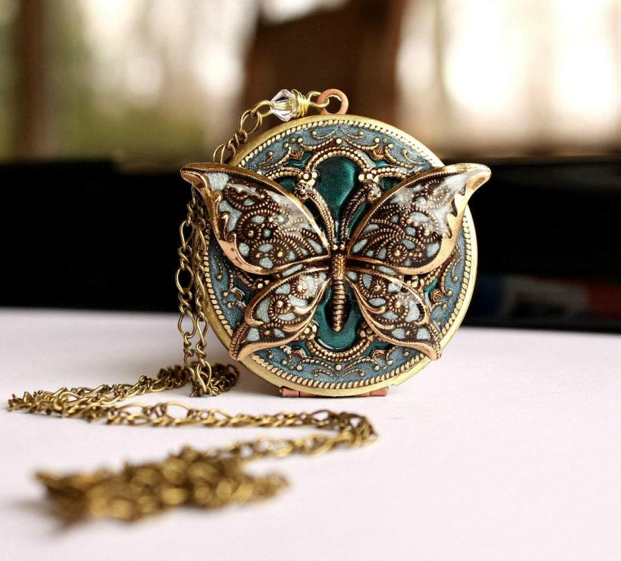 Свадьба - Teal Vintage Style Locket, Valentines Day Gifts For Mother, Girlfriend, Wife, Personalized Gift For Her, Locket With Photo, Gift For Her