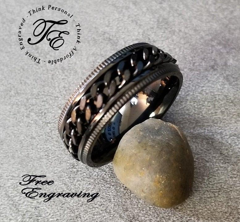 Wedding - Men's Black Chain Spinner Promise Ring Custom Engraved