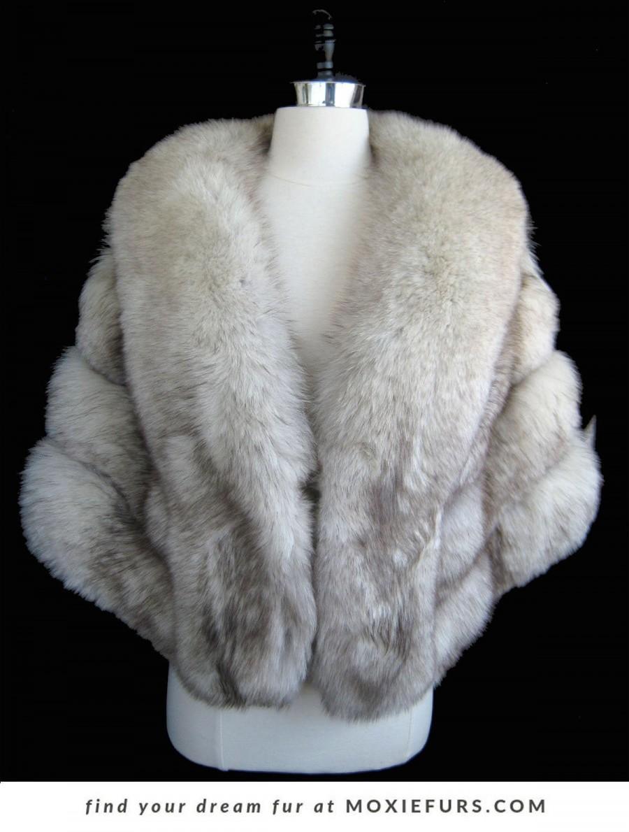 زفاف - White Norwegian FOX Fur Stole ,  Real Fur Wrap Bolero Jacket , Winter Wedding Cape , Vintage Great Gatsby Shawl , Luxury Bridal Gift , Large