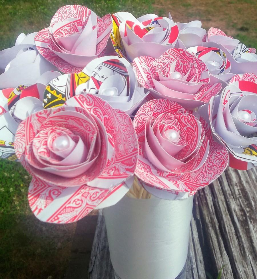 Свадьба - 1 Dozen Playing Card Flowers Alice In Wonderland Theme Party Casino Centerpiece One Dozen Playing Card Roses Magician Prop Red Roses