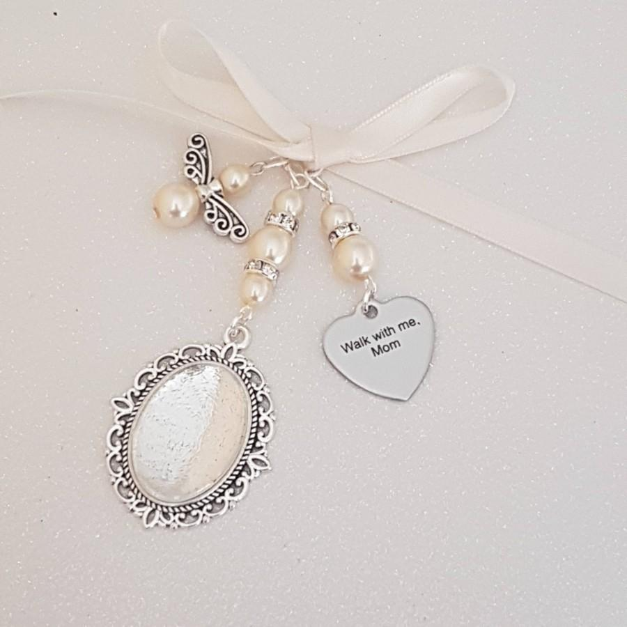 "Wedding - Bouquet Charm, wedding charm, bridal charm, Photo Frame Charm, Silver Locket,""Walk with me Mom"" , Ivory Pearls, Angel charm, Cover, Gift Bag"