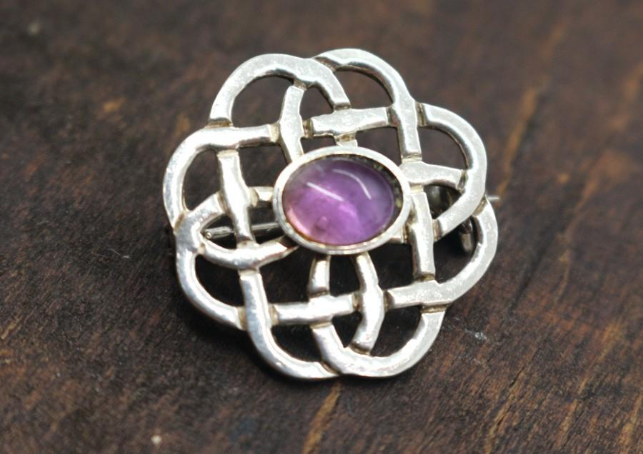 Wedding - Vintage Brooch Real Sterling Silver Pin Purple Amethyst Celtic Knots Scottish Infinity 925 Birthday Gift For Her Wife Mothers Day Mom Mother