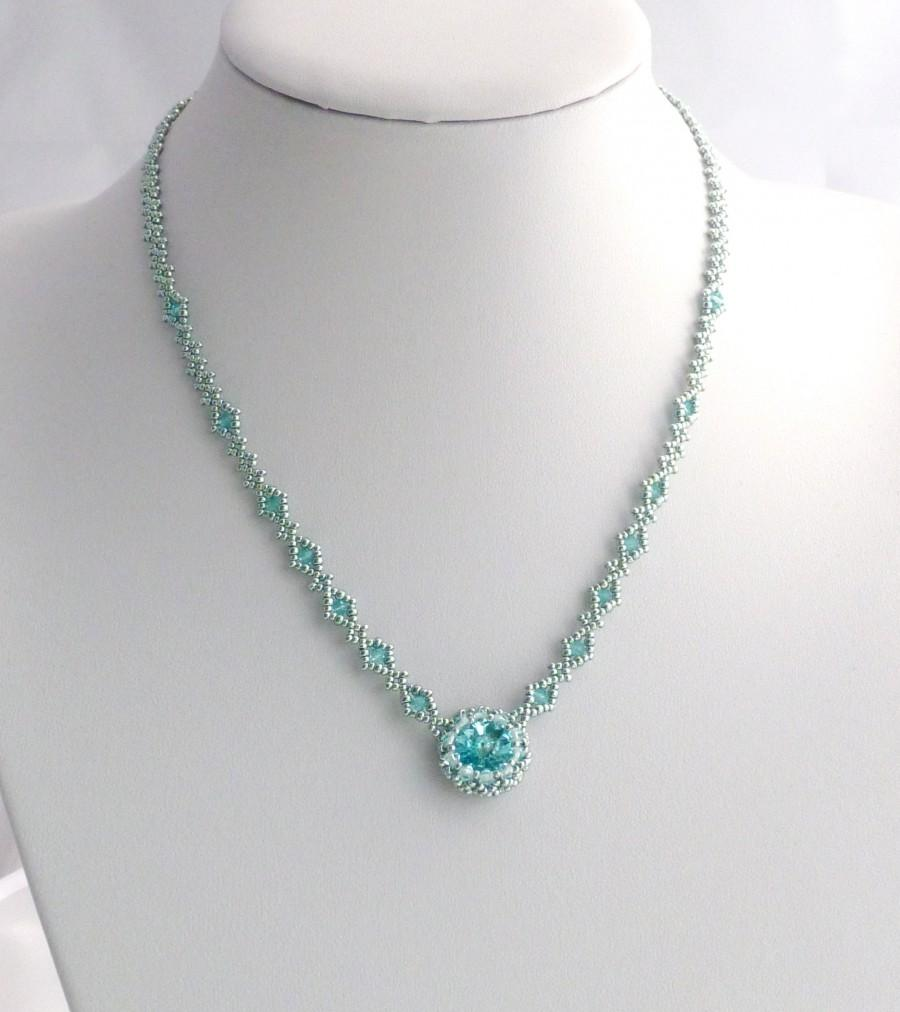 زفاف - Aqua Beadwork Necklace with Light Turquoise Swarovski Crystals , Seed Beads and Sterling Silver Clasp