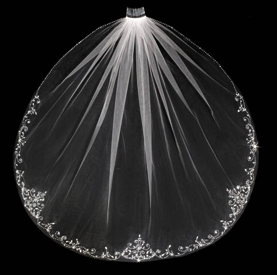 زفاف - Beaded Scroll Design Waist, Fingertip, Cathedral or Royal Cathedral  Wedding Veil Bridal Veil- Free Samples