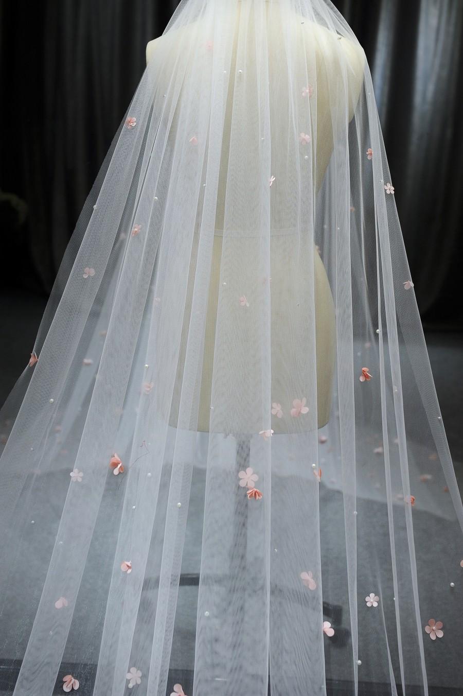 Свадьба - LS80/pearl&3D flower veil/ 1 tier veil/cathedral veil/ custom veil