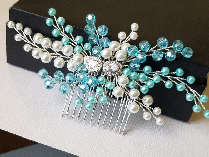 Свадьба - Aqua Blue Bridal Hair Comb, Pearl Crystal Wedding Comb, Teal White Hairpiece, Mint Blue Pearl Bridal Headpiece, Hair Jewelry, Floral Comb