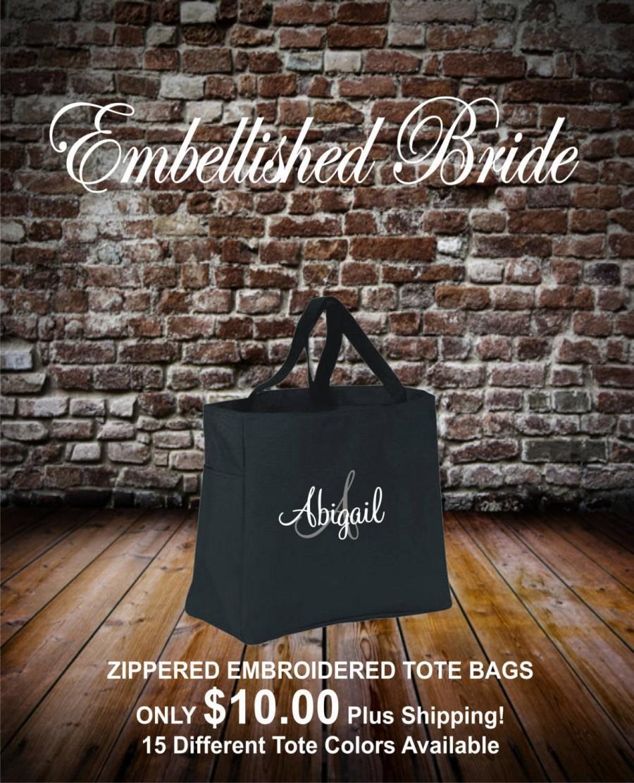 زفاف - 9 Tote Bags with ZIPPER ,Bridesmaid tote bag , bridesmaid gifts , beach bag , bachelorette party gift , wedding tote bags, monogrammed tote
