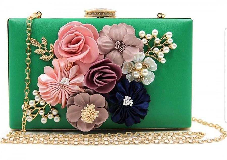 Wedding - BALAJI COLLECTION Handicraft Party Wear Beautiful Flower Box Clutch Bag Purse, Size 8x5 inches For Bridal, Casual, Party, Wedding