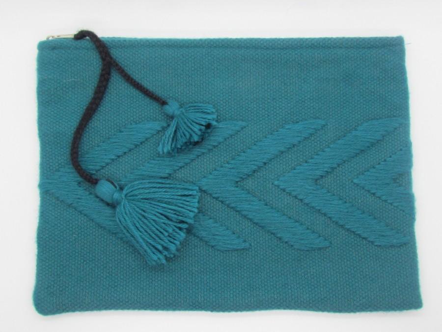 Свадьба - Peruvian Alpaca Clutch/Handmade Alpaca Clutch/Alpaca IPAD case/Alpaca Wool Purse/Artisan-crafted Evening Clutch Turquoise