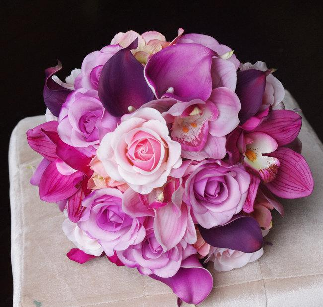 Wedding - Wedding Purple Mix of Fuchsia, Pink and Lilac Natural Touch Orchids, Callas and Roses Silk Flower Bride Bouquet