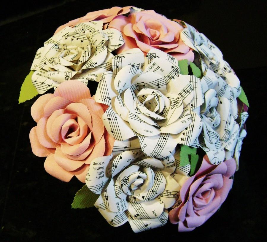 Свадьба - vintage sheet music hymnal roses and pink cardstock or any color) roses bouquet for weddings, toss, rehearsal, bridesmaids, centerpiece rts
