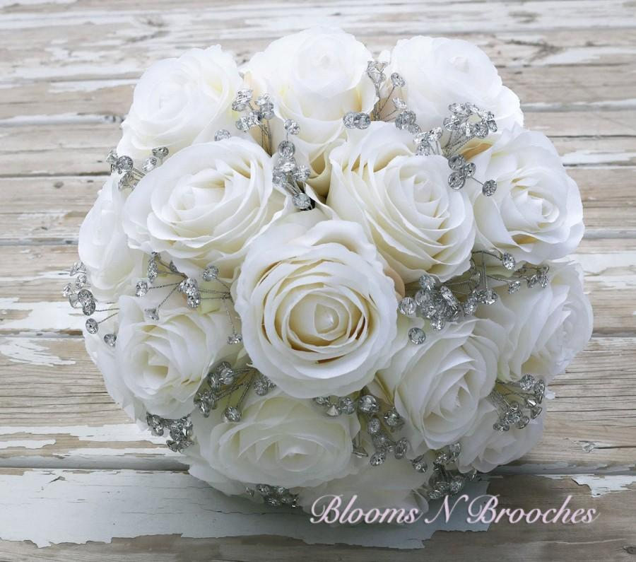 Свадьба - Ivory bridal bouquet, bling bouquet, bridal bouquet, artificial bouquet, bridal bouquet, bling bridal bouquet
