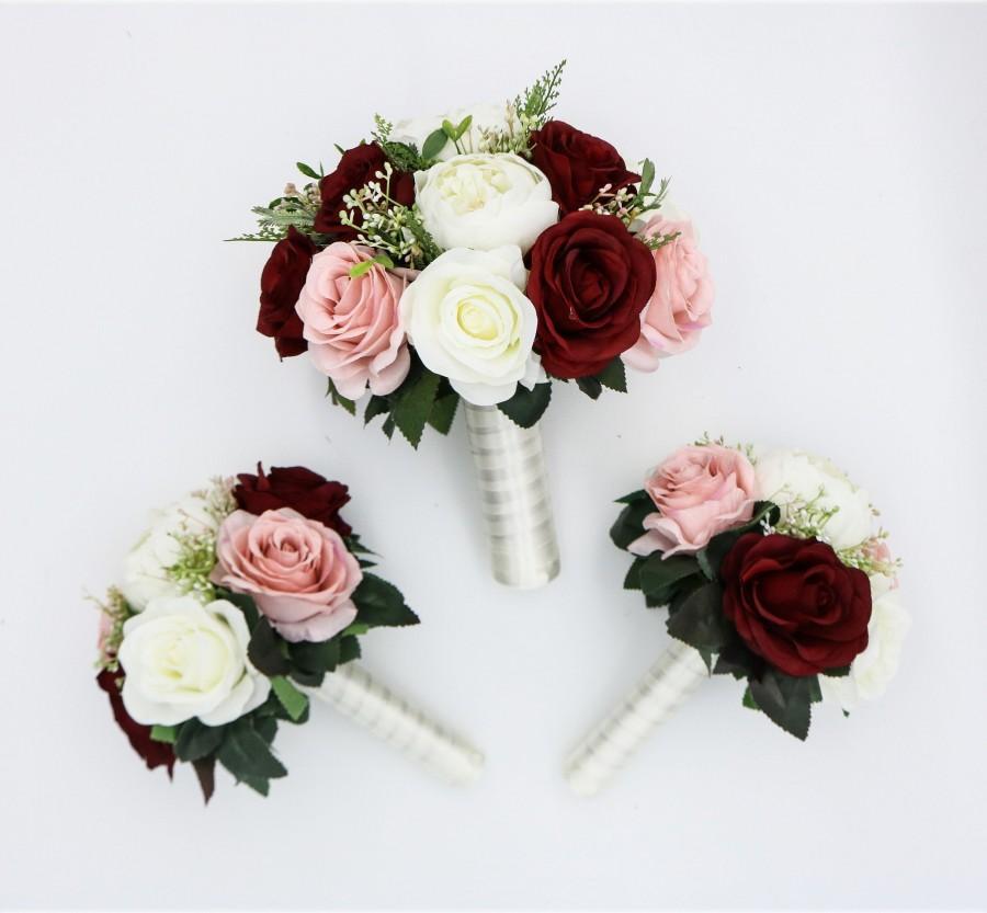 Свадьба - Wedding Bouquet Wine Blush and Ivory, Bridal Bouquet, Bridesmaids bouquet,  Artificial Wedding Flowers, Boho Wedding, Burgundy Flowers,