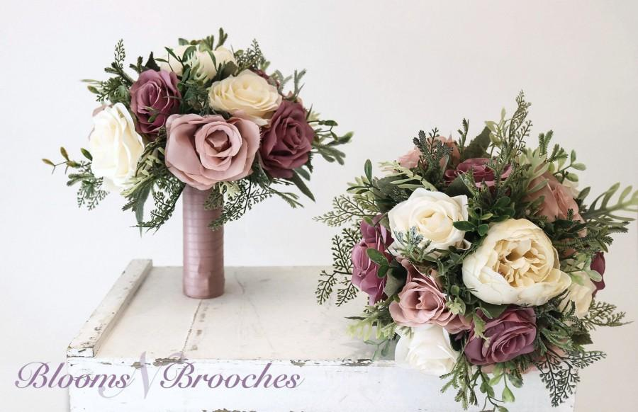 Свадьба - Dusty Rose, mauve  and  Ivory Wedding Bouquet, Wedding Flowers, Bridesmaid Bouquets, Corsage, bridal Flower Package