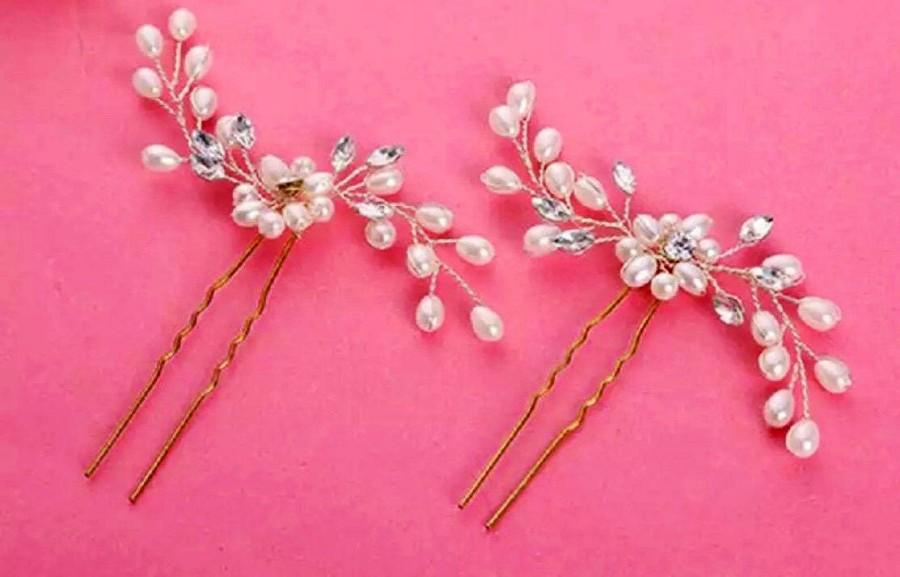 Mariage - Bridesmaids hair pin,Floral bridal hair pins, bridal headpiece, floral wedding bobby pins