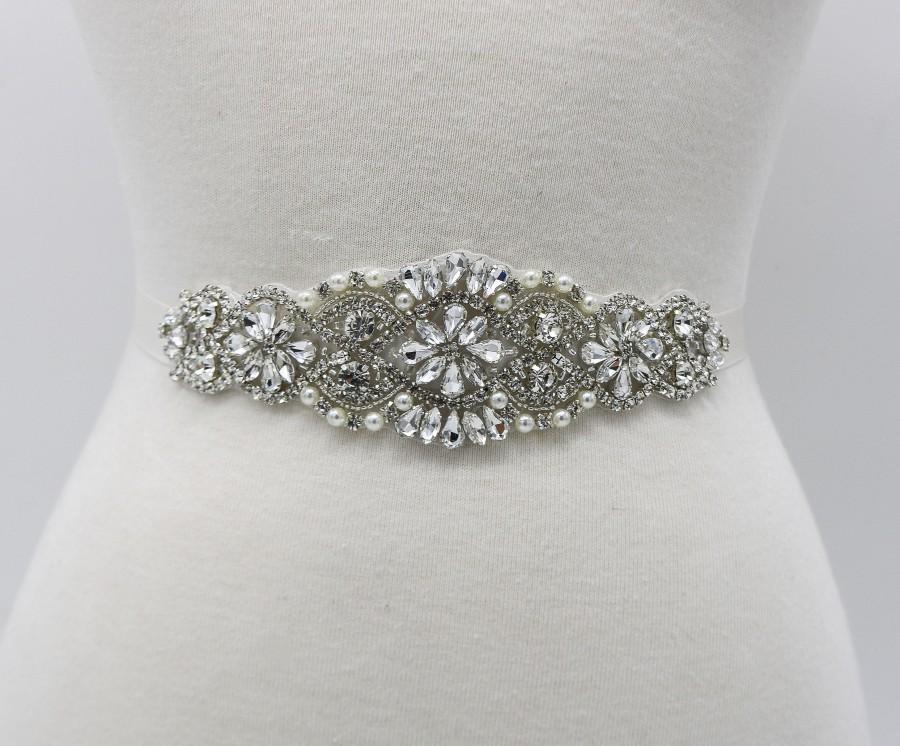 Mariage - Bridal Dress Belt, Bridal Belts and Sashes, Ivory Wedding Belt, Crystal and Pearls Belt, crystal belt For Wedding Dress