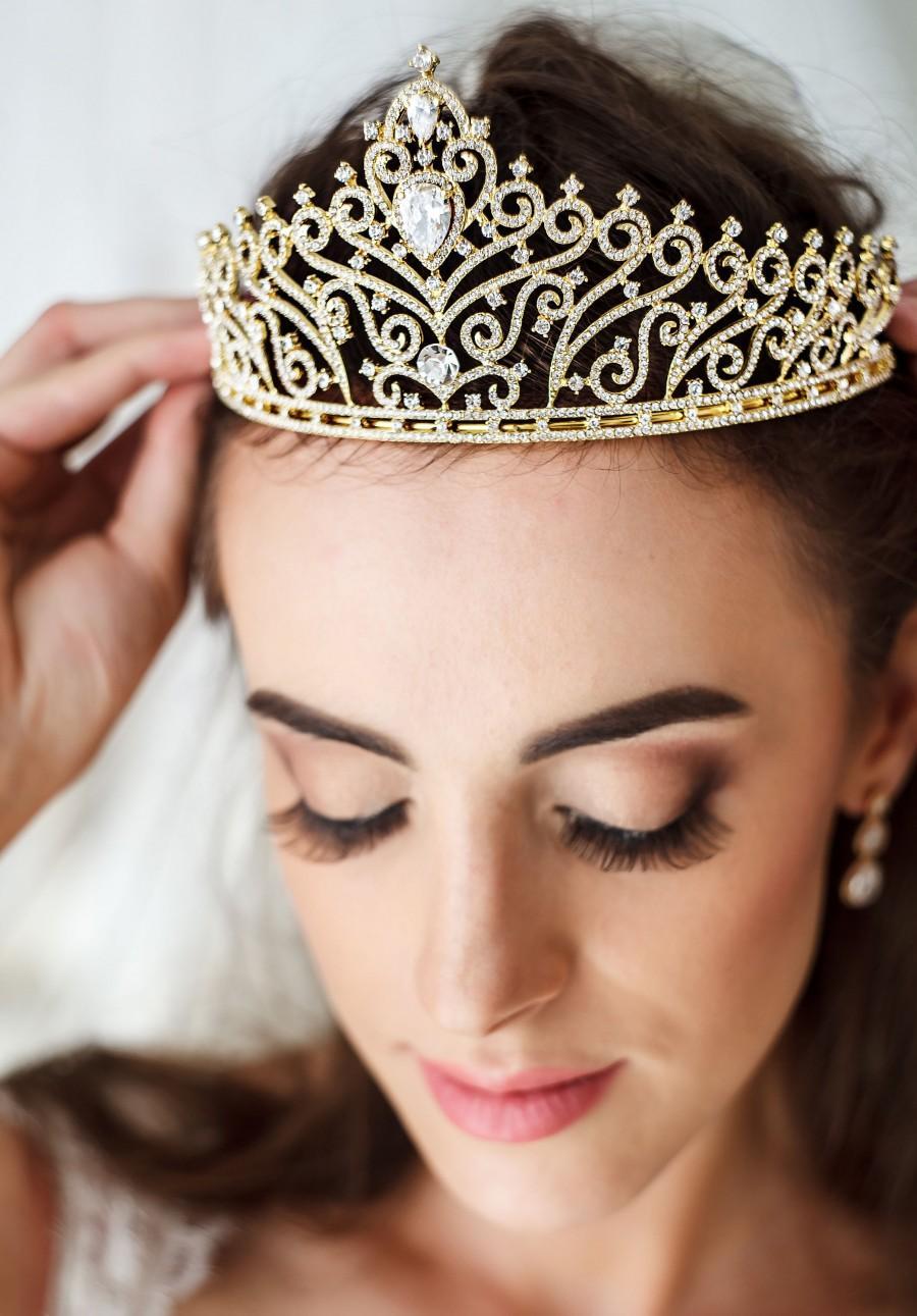 Mariage - Wedding Tiara Gold Crown Gold hair accessory Crystal Gold bridal Tiara Swarovski Crystal Wedding Crown DiamanteTiara