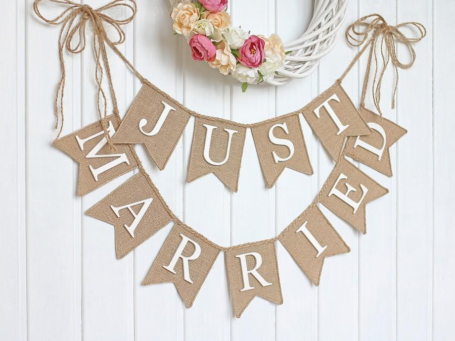 Свадьба - Just Married Wedding banner, rustic wedding banner,just married burlap banner,just married banner, Wedding Banner, rustic wedding
