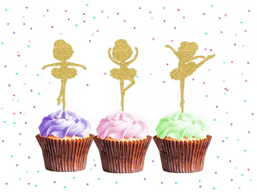 Свадьба - Ballerina Girl Cupcake Toppers - Ballerina Cupcake Toppers, Birthday Cupcake Topper, First Birthday Cupcake Toppers