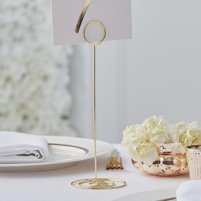 Mariage - Gold Metal Table Number Stand, Table Number Holder, Botanical Wedding, Place Card Holders, Wedding Centrepiece, Gold Wedding Decor