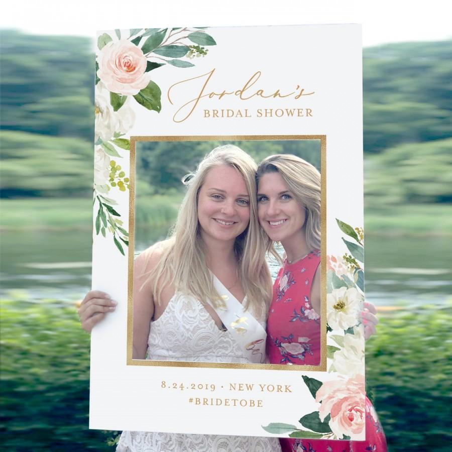 Mariage - Photo Prop Frame, Bridal Shower Frame, Wedding Photo Prop, Editable Template, Boho Floral & Gold, INSTANT DOWNLOAD, Printable 043-102PP