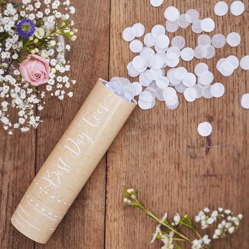 Mariage - White Wedding Confetti Cannon Shooter - Prefill Biodegradable paper confetti
