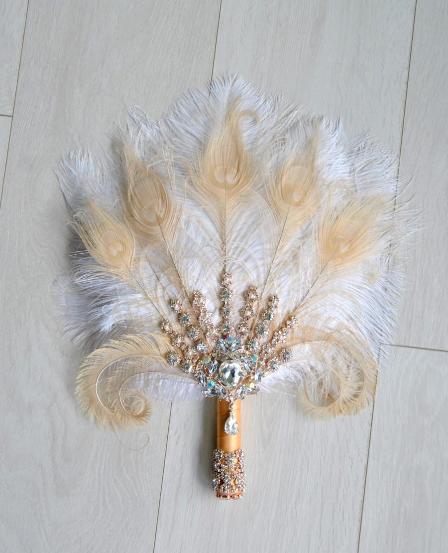 Свадьба - Rose Gold Bridal brooch Bouquet Ostrich Big alternative Feather Fan Bridal Bouquet Ivory Great Gatsby 1902s  wedding Roaring 20's bouquet