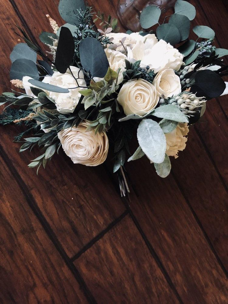 Свадьба - Wedding Bouquet + WINTER WEDDING + Sola Wood + Wooden Bouquet + Eucalyptus + Cedar + Greenery + Wood Flower + Forever Wedding Bouquet