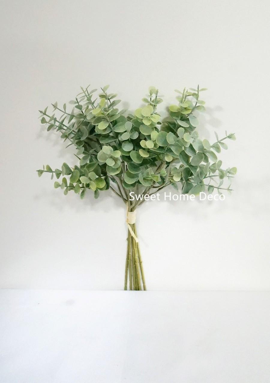 Wedding - JennysFlowerShop 14'' Faux Eucalyptus Greenery Bunch, Fake Eucalyptus, Artificial Eucalyptus, Single Stem, Floral Design, Dusty Green