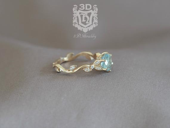 زفاف - Leaf engagement ring, Aquamarine engagement ring, Floral engagement ring, anniversary ring with diamonds in 14k yellow, white, or rose gold