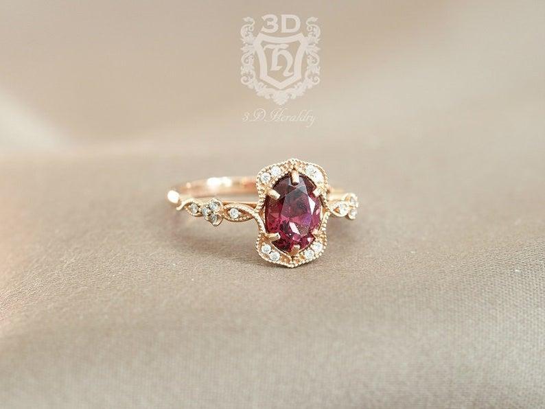 Wedding - Garnet ring , Garnet engagement ring, Floral Rhodolite Garnet and diamond ring made in solid 14k rose gold, white gold, or yellow gold