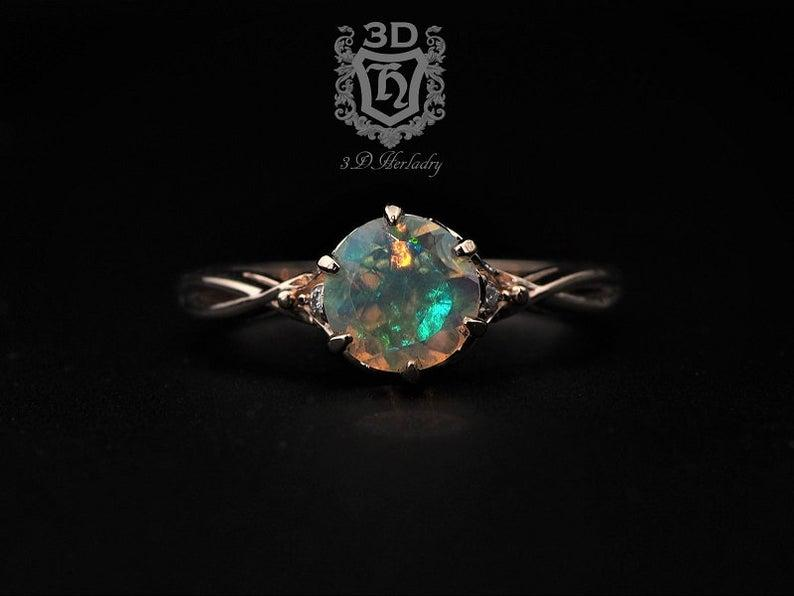 Wedding - Opal ring , Opal engagement ring, Ethiopian Opal Ring natural diamonds made with your choice of 14k rose gold, white gold, yellow gold