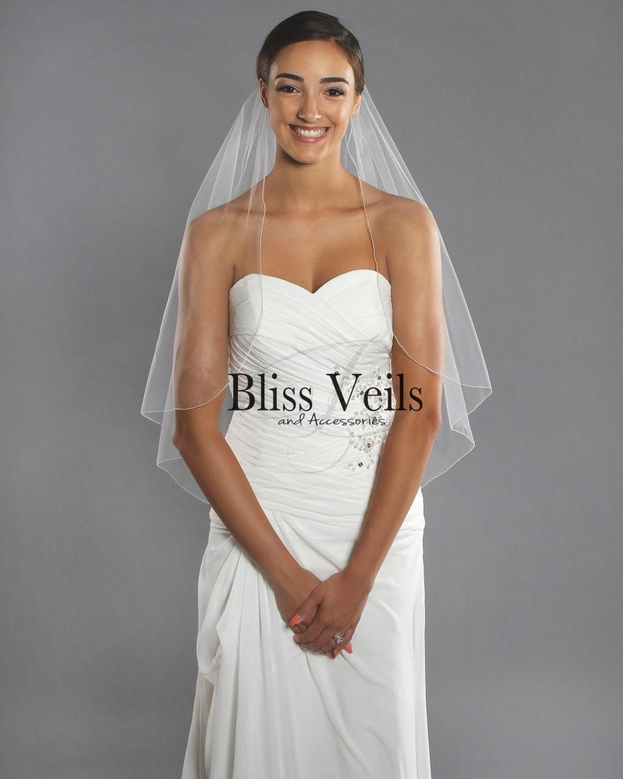 Свадьба - 1 Tier Wedding Veil - Simple Bridal Veil - Fingertip Length Pencil Edge Veil - Available in 10 Colors, Fast Shipping!