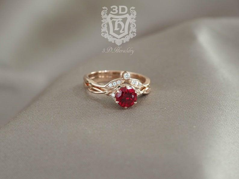 Wedding - Ruby ring set , Ruby engagement ring set , Floral ruby and diamond ring set made in your choice of solid 14k yellow, white, or rose gold