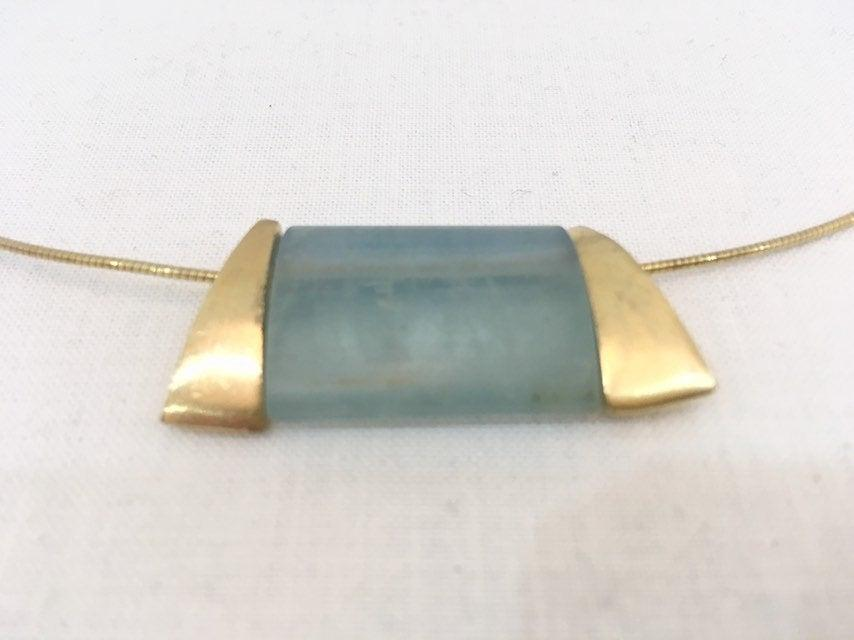 Mariage - Milky Aquamarine and gold necklace - gift for her - modern elegant design - March birthstone 19 year anniversary