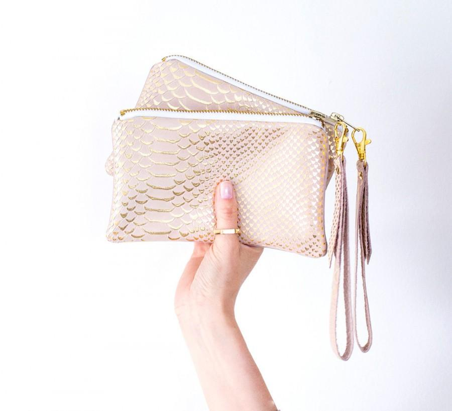 Mariage - Powder Pink Leather Wristlet, Pastel Pink Bridal Pouch, Gold Pink Wedding Bag, Reptile Clutch, Small Evening Clutch, Birthday Gift