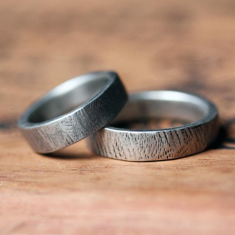Mariage - Rustic wedding ring set, silver bark rings, wedding band set, ethical wedding, matching wedding band sets, recycled silver, made to order