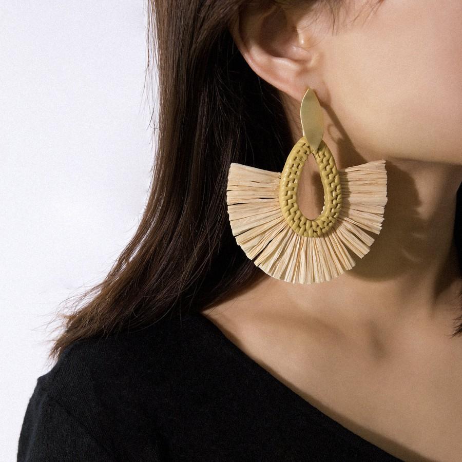 زفاف - Hand Woven Rattan Earrings -  Tear Drop Shape Tassel Hoop Earrings - Bohemian Statement Drop Earrings