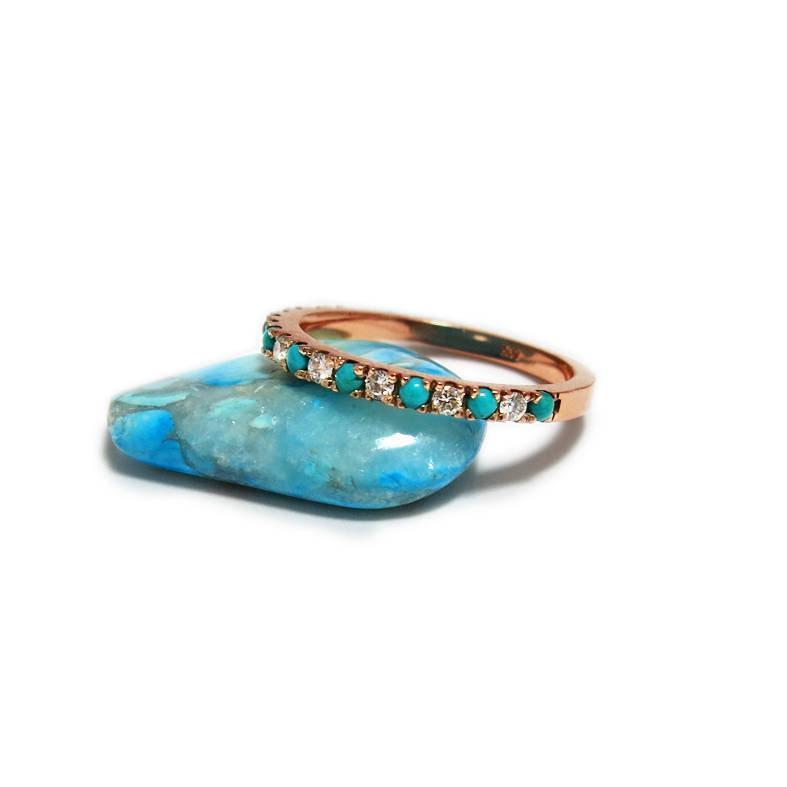 زفاف - Turquoise Wedding Ring, Diamond Turquoise Ring, Boho Wedding Ring, Rose Gold Turquoise Ring, Turquoise Band, Ring for Women, Turquoise Ring