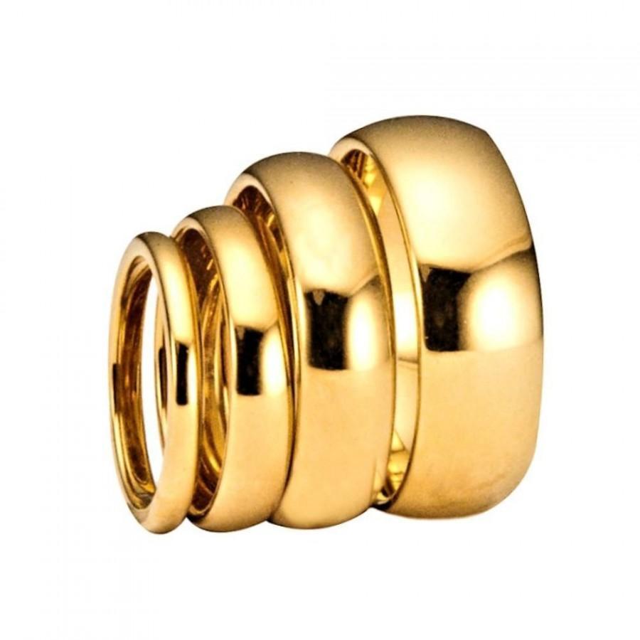 زفاف - 2mm, 3mm, 4mm, 5mm, 6mm, 8mm & 10mm Gold Plated Polished Tungsten Carbide Wedding Ring Classic Half Dome Band. Free Inside Laser Engraving