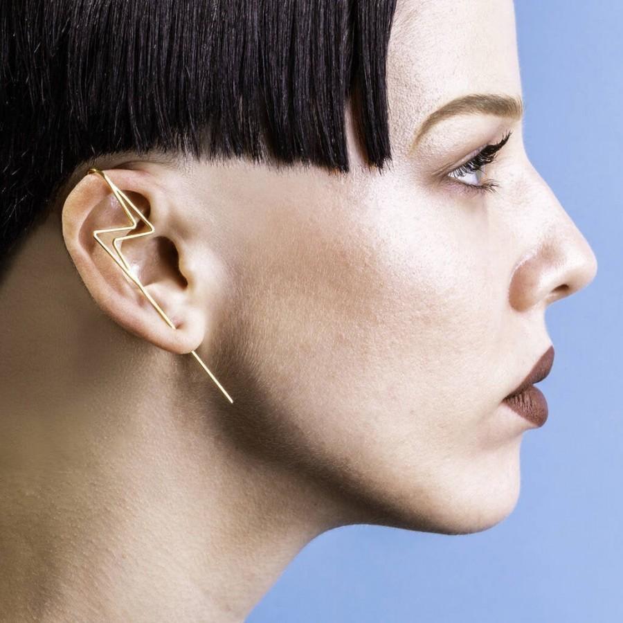 زفاف - Gold Ear Cuff-Lightning Bolt Earring-Geometric Ear Cuff-Gold Ear Climber-Modern Earring-Unusual Earring-Edgy Earring-Ear Pin-Harry Potter