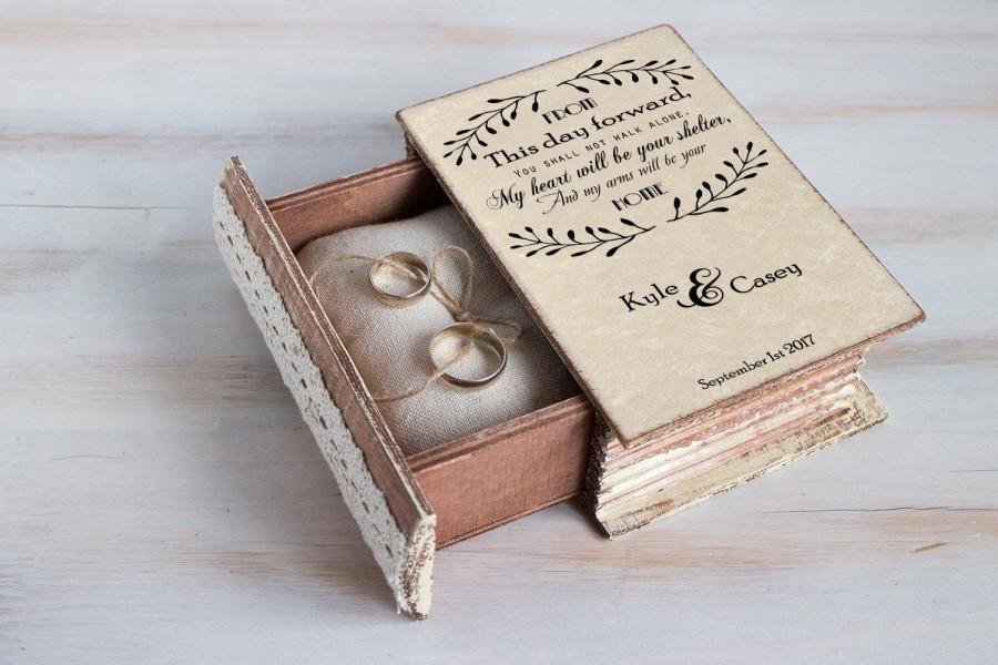 زفاف - Ring bearer box, personalized ring box, Wedding ring box, Unique wedding box, Engagement ring box, Jewellry box Wedding ring holder Book box