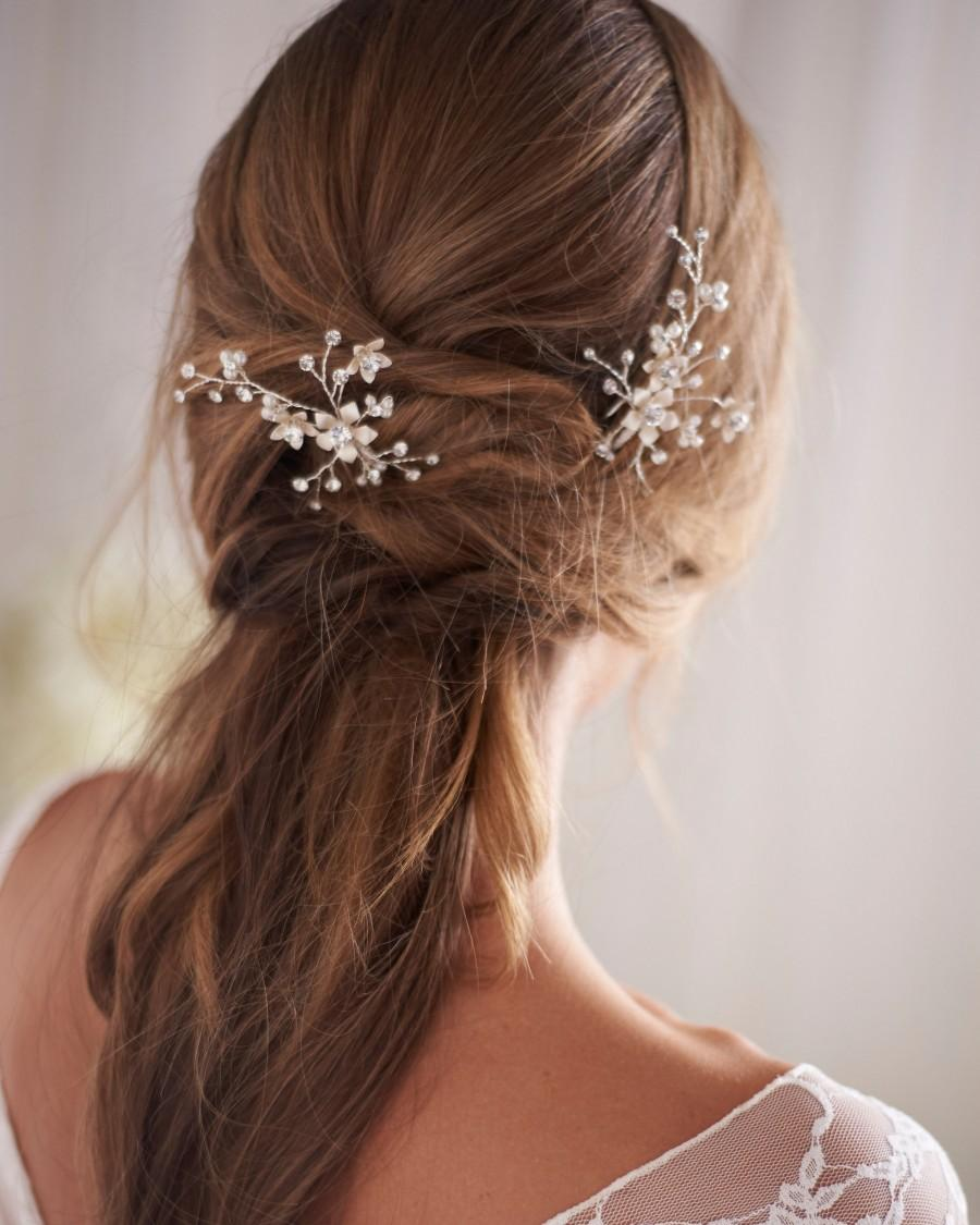 زفاف - Floral Wedding Hair Pin, Bridal Hair Pins, Floral & Pearl Wedding Hair Pins, Wedding Hair Pins, Silver Bridal Hair Pins, Pearls ~ TP-2846