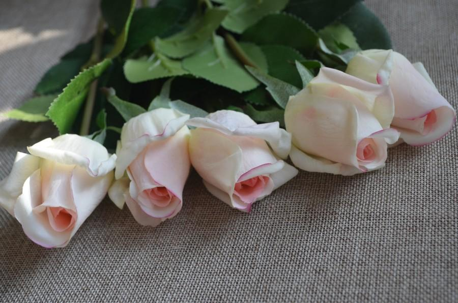 Hochzeit - Light Blush Real Touch Rose Buds DIY Wedding Centerpieces Silk Bridal Bouquets Artificial Flowers