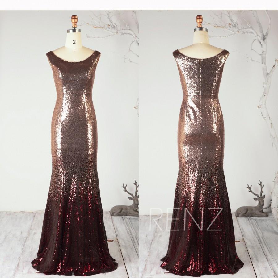 زفاف - Ombre Mermaid Sequin Dress Rose Gold & Wine Glitter Party Dress Scoop Neck Prom Dress Bodycon Bridesmaid Dress Wedding Dress - Renz (HQ701)