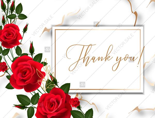 Mariage - Wedding thank you card invitation Red rose marble background template PDF 5.6x4.2 in create online