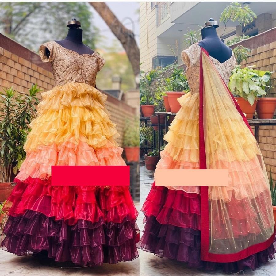 Mariage - On Sale Multi colored Anarkali Gown Long Kurta Ruffle Pattern Bridal Wedding wear dress festival party and bridesmaid Gown With Dupatta